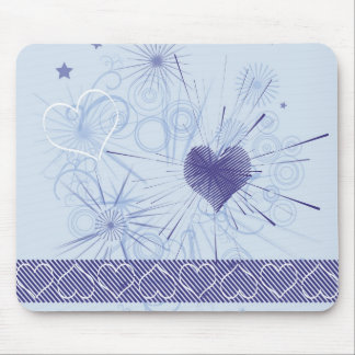 Abstract Love Blue Hearts Stripe & Floral Mousepad