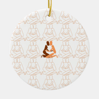 Abstract Love brown and tan outline Ceramic Ornament