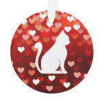 Abstract Love Heart With Cat Ornament