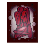 Abstract Lovers in Red Postcards