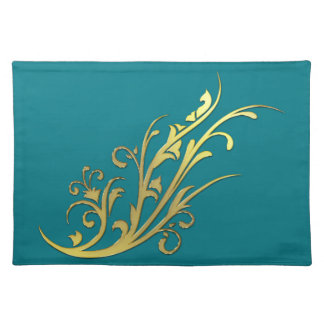 Abstract Luxury Faux Gold Flower Cloth Placemat