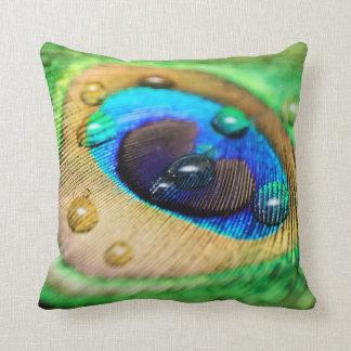 Abstract Macro Peacock Feather Drops Cushion Throw Pillows