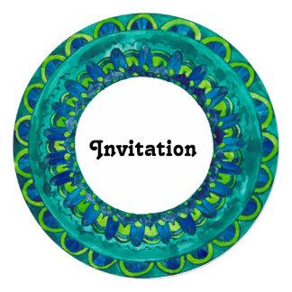 abstract mandala border blue green invitation