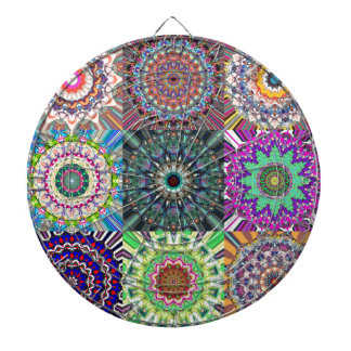 Abstract Mandala Collage Dartboards