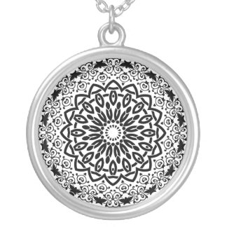 Abstract Mandala Design Silver Plated Necklace