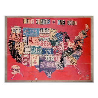 Abstract Map of the Fifty States - A Photograph Poster