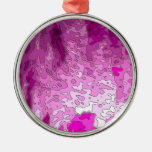 abstract maps neon pink christmas ornament