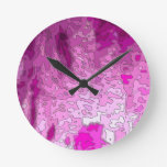 abstract maps neon pink round clocks