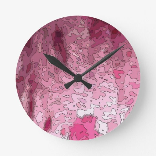 abstract maps, pink round clock