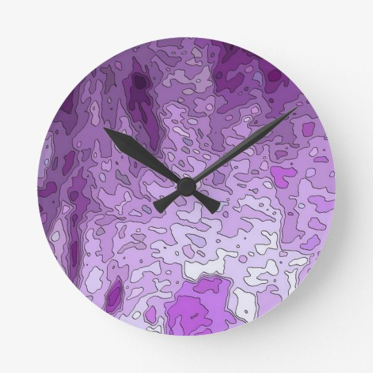 abstract maps purple round clock
