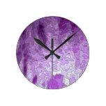 abstract maps purple round wall clocks