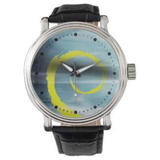 Abstract Marbelized Curl (blue yellow) Watch