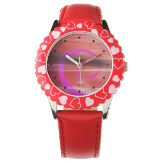 Abstract Marbelized Curl (red violet) Wrist Watch