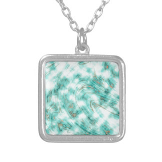 Abstract marble blue silver plated necklace