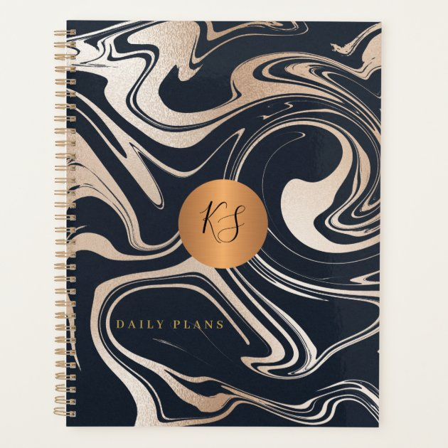 Abstract Marble Painting Black Rose Gold Monogram Planner Zazzle Com