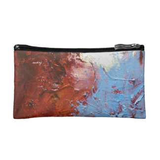 Abstract Maroon Bagette Makeup Bags