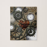 """Abstract mechanical design jigsaw puzzle<br><div class=""""desc"""">Abstract mechanical design with clocks and heart,  steampunk</div>"""