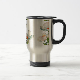 Abstract mellow flowers travel mug