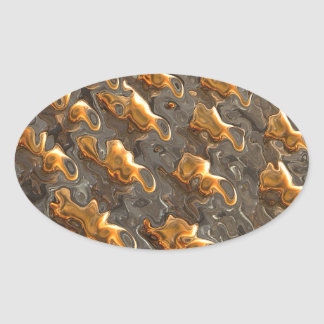Abstract Melting Metal Oval Sticker