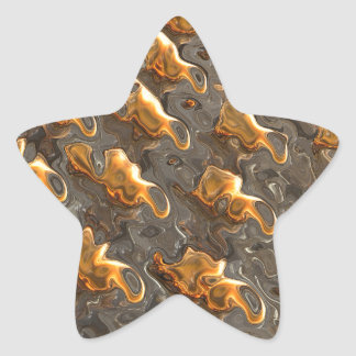 Abstract Melting Metal Star Sticker