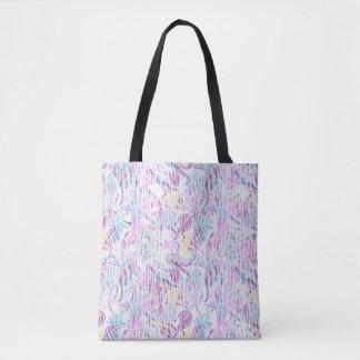 Abstract Mermaid Seahorse Starfish Lavender & Blue Tote Bag