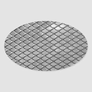 Abstract Metal Grid Oval Sticker