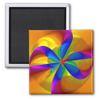 Abstract Metallic Flower Rainbow Color Swirl 2 Inch Square Magnet