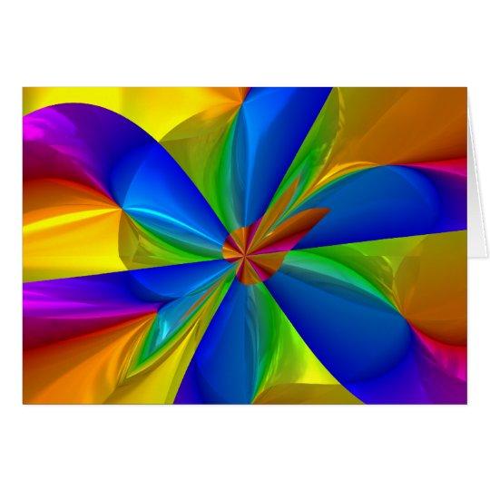 Abstract Metallic Flower Rainbow Color Swirl Card