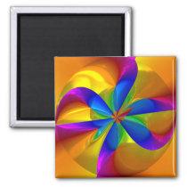 Abstract Metallic Flower Rainbow Color Swirl Magnet