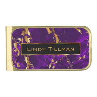 Abstract Metallic Gold and Purple Marble Gold Finish Money Clip