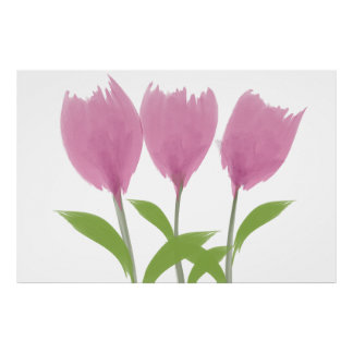 Abstract Minimalistic Watercolor Tulips Flowers Poster