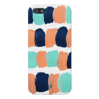 Abstract Mint, Navy, Coral Painting iPhone 5 Case