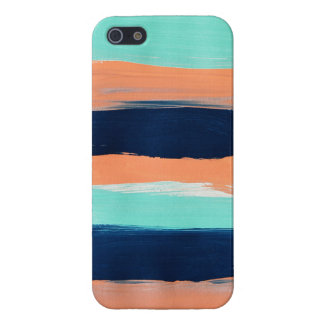 Abstract Mint, Navy, Coral Stripes Painting Case For iPhone SE/5/5s