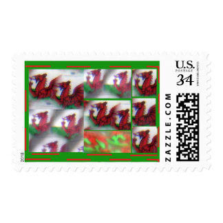 Abstract misty Wales flag Postage