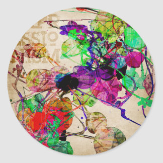 Abstract Mixed Media Classic Round Sticker