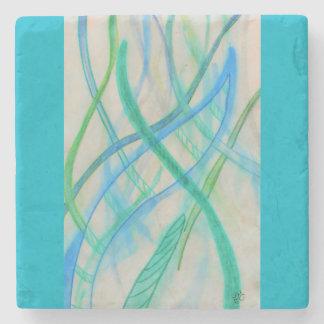 Abstract mixed media grasses stone coaster