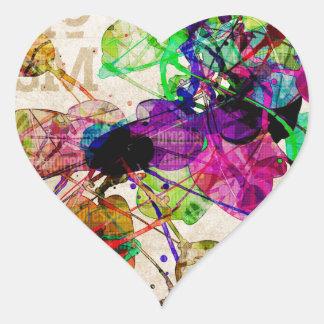 Abstract Mixed Media Heart Sticker