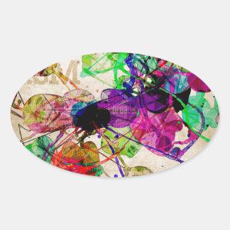 Abstract Mixed Media Oval Sticker