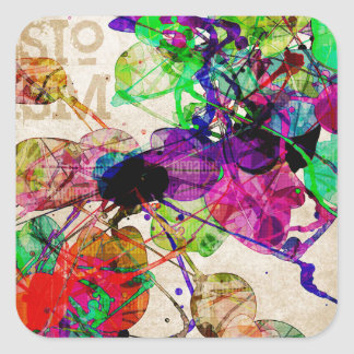 Abstract Mixed Media Square Sticker