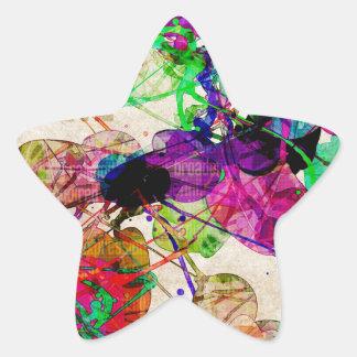 Abstract Mixed Media Star Sticker