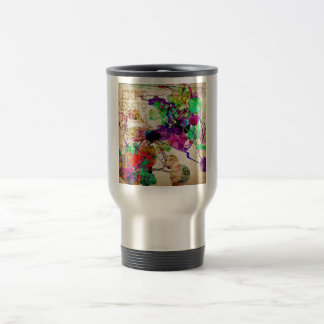 Abstract Mixed Media Travel Mug