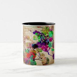 Abstract Mixed Media Two-Tone Coffee Mug