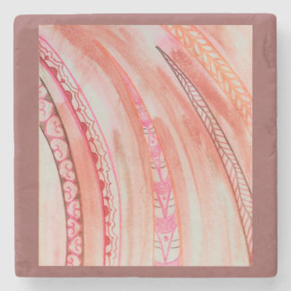 Abstract mixed media with Southwestern feel Stone Coaster