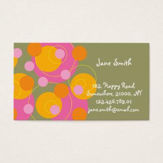 Abstract Mod Art Retro Fun Pink Dots Profile Card