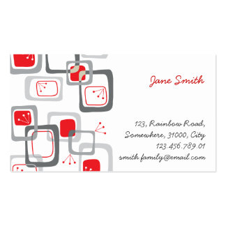 Abstract Mod Retro Red Cherry Squares Profile Card Business Card Templates