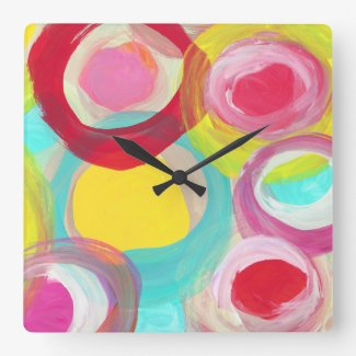 Abstract Modern Art Circle Painting Square Wallclock