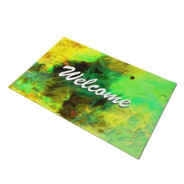 Abstract Modern Art Professional Welcome Green Doormat