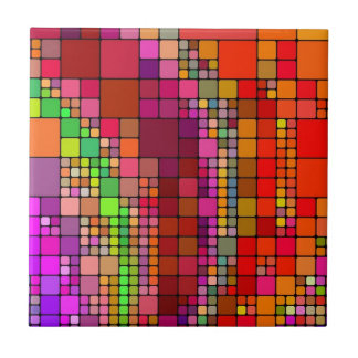 Abstract Modern Art Squares Colorful Color Tile