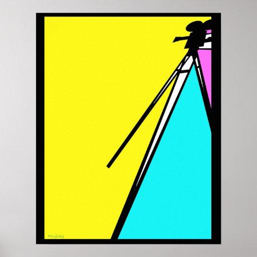 Abstract Modern Art Style Technicolor MovieCamera Print