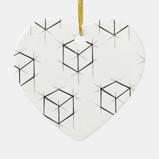 Abstract modern blueprint style cubic boxes ceramic ornament